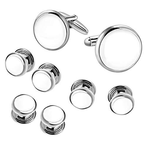 White & Silver Cufflinks